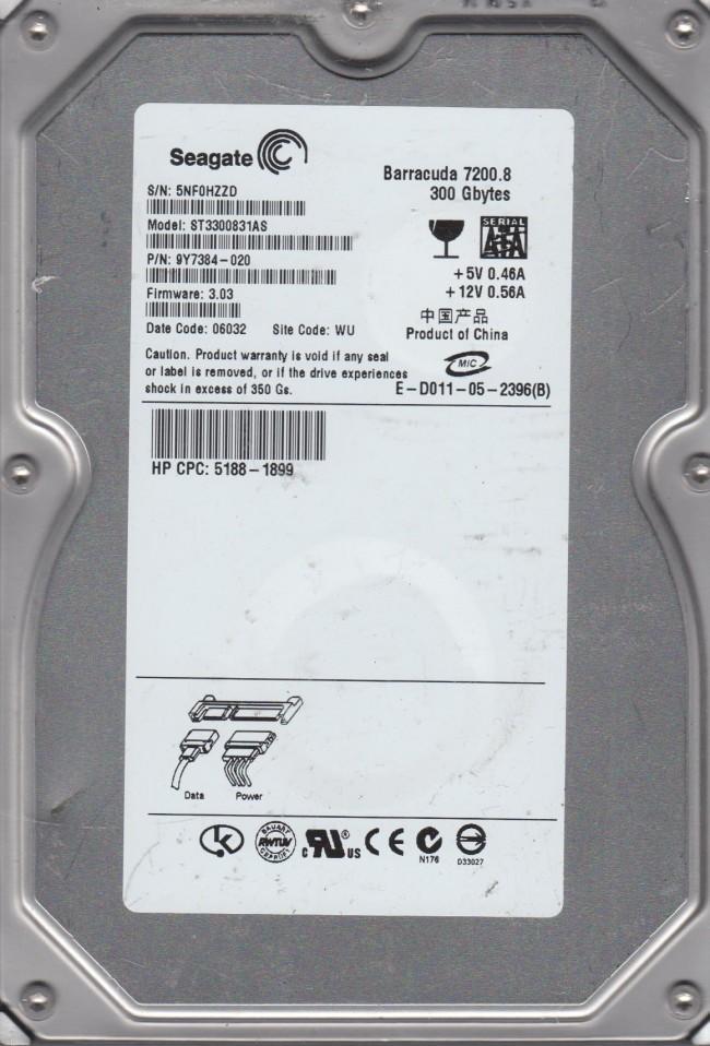 "Seagate st3300831as 300gb sata 3. 5"" desktop hard drive hard drives."