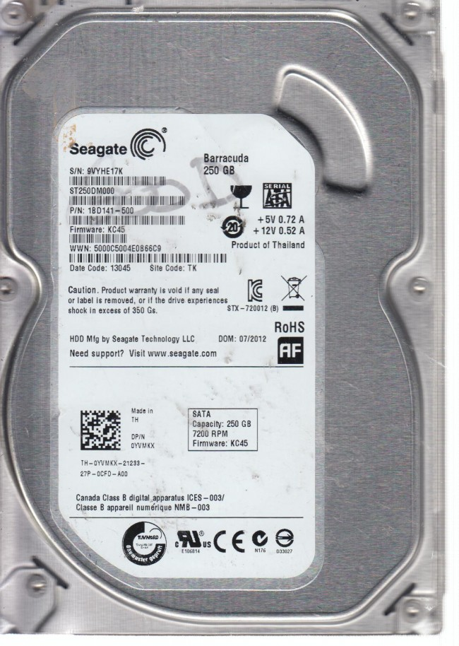 KC45 TK Seagate ST250DM000 P//N:1BD141-500 250GB F//W