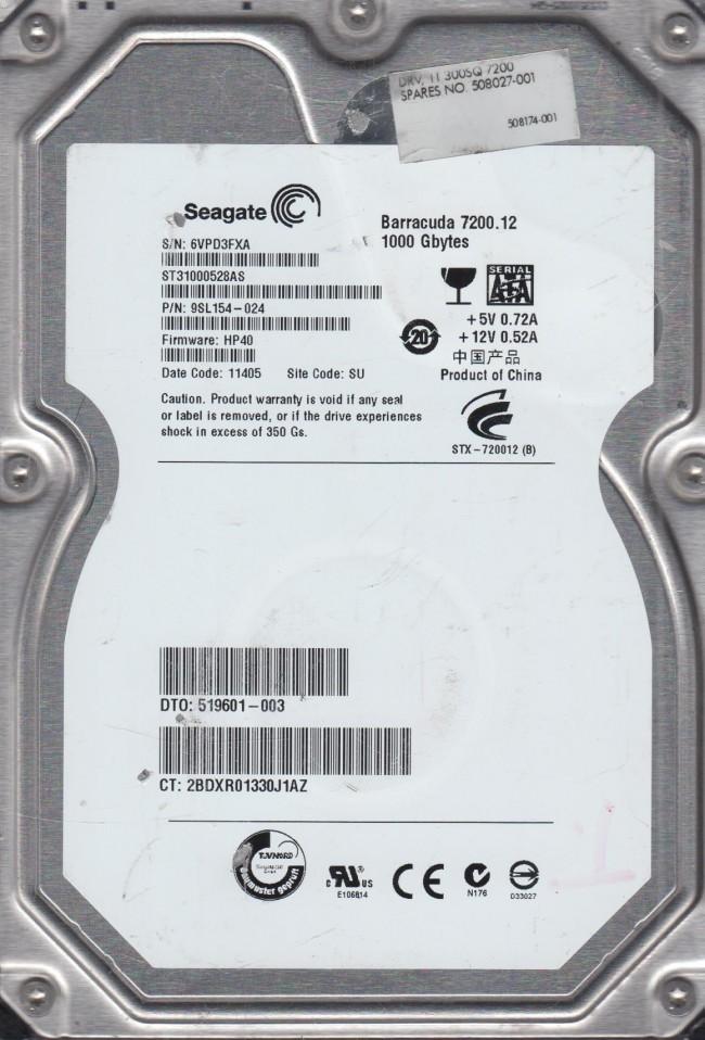 Seagate 1TB SATA 3.5 Hard Drive SU 6VP FW HP40 PN 9SL154-024 ST31000528AS