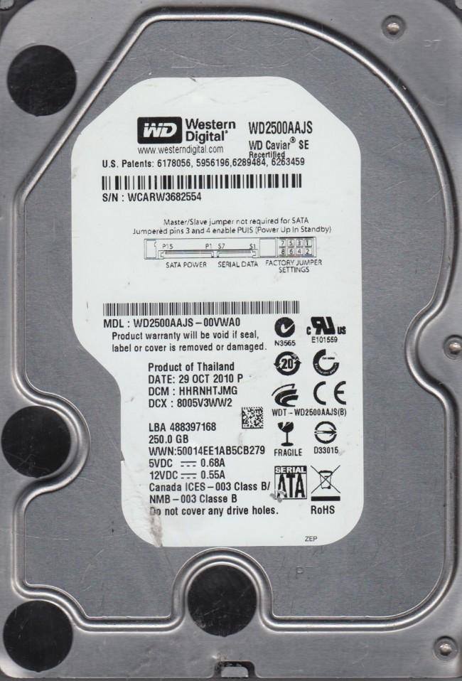 WD2500AAJS-00VWA0, DCM HHRNHTJMG, Western Digital 250GB SATA 3 5 Hard Drive