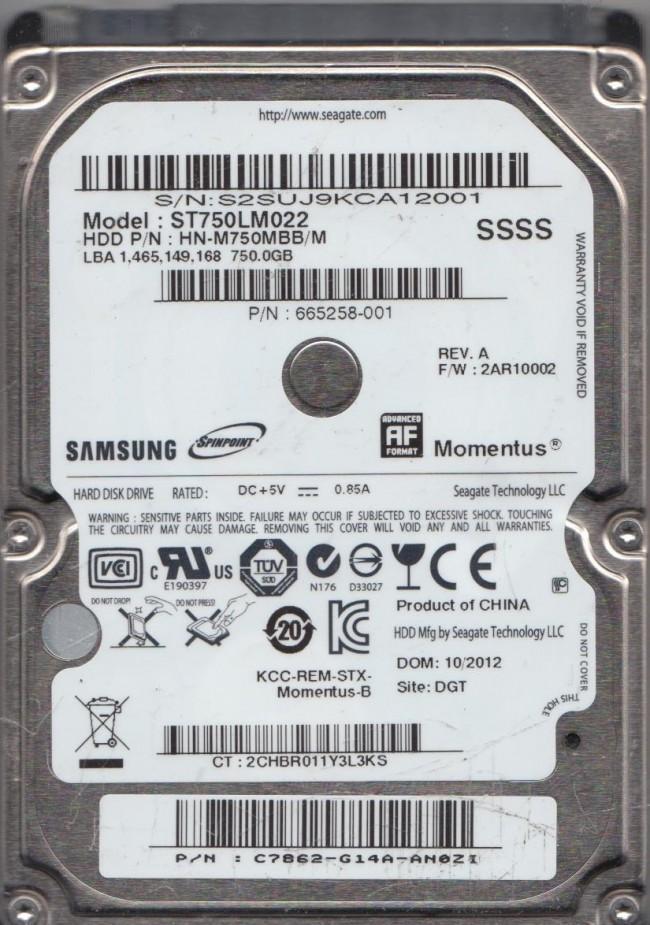 SSSS FW 2AR10002 HN-M750MBB//M Samsung 750GB SATA 2.5 Hard Drive ST750LM022