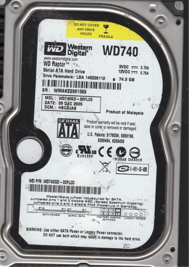 Western Digital 74.3GB SATA 3.5 Hard Drive DCM HBCAJAB WD740GD-00FLC0