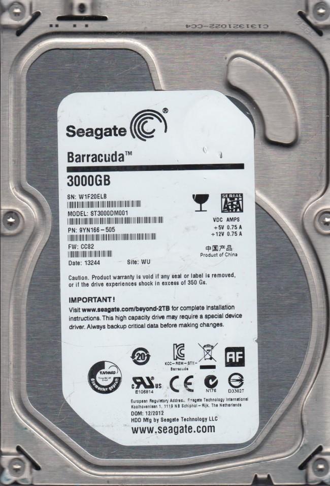 CC82 Seagate SATA 3.5 PCB ST3000DM001 5009 K 9YN166-505