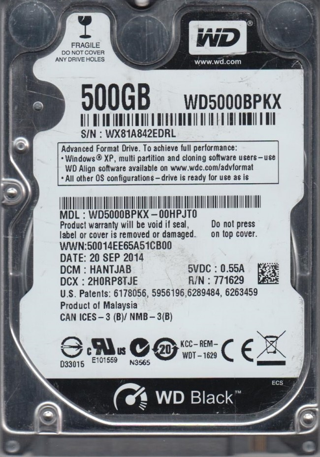 Wd5000bpkx 00hpjt0 Dcm Hantjab Western Digital 500gb Sata 2 5 Hard Drive