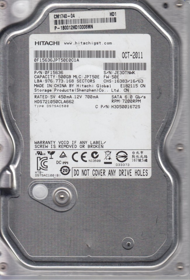 MLC JPT50E HDS721050CLA662 PN 0F15636 Hitachi 500GB SATA 3.5 Hard Drive