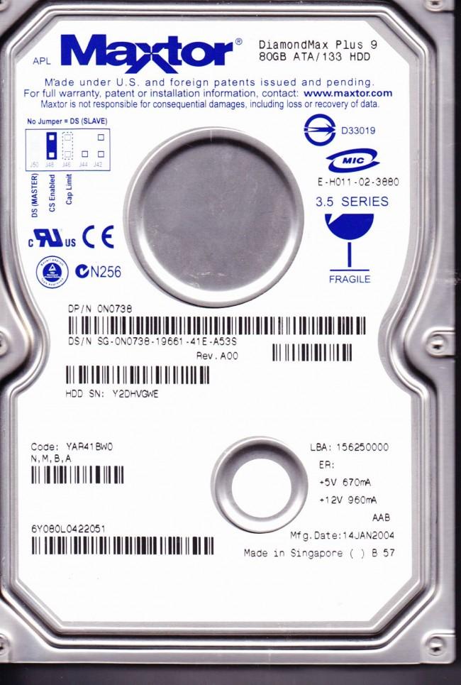 6Y080L0 Code YAR41BW0 NMBA Maxtor 80GB IDE 35 Hard Drive