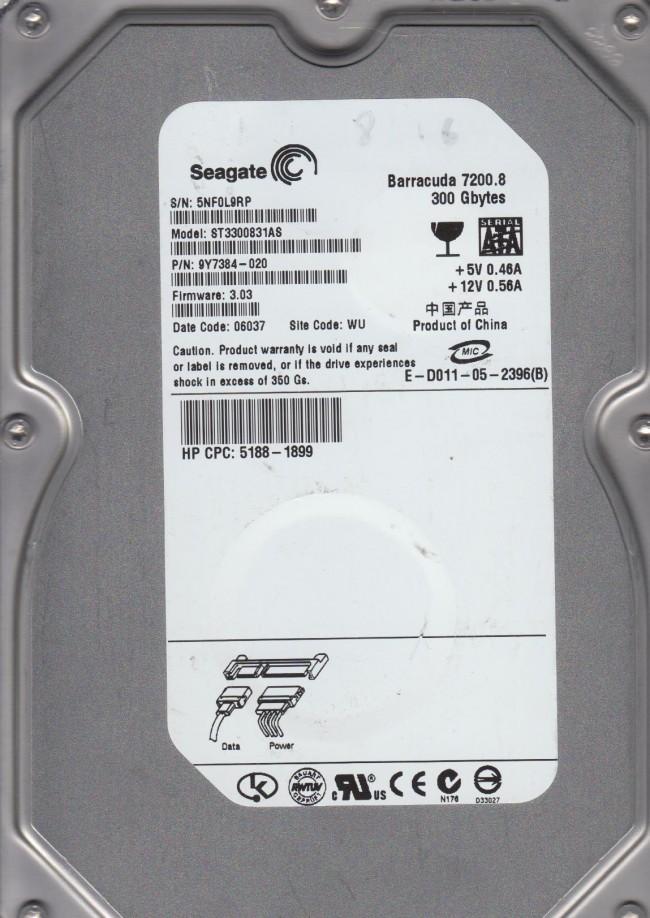 "Seagate st3300831as 300gb 7200rpm 1. 5gb/s 3. 5"" sata hard drive."