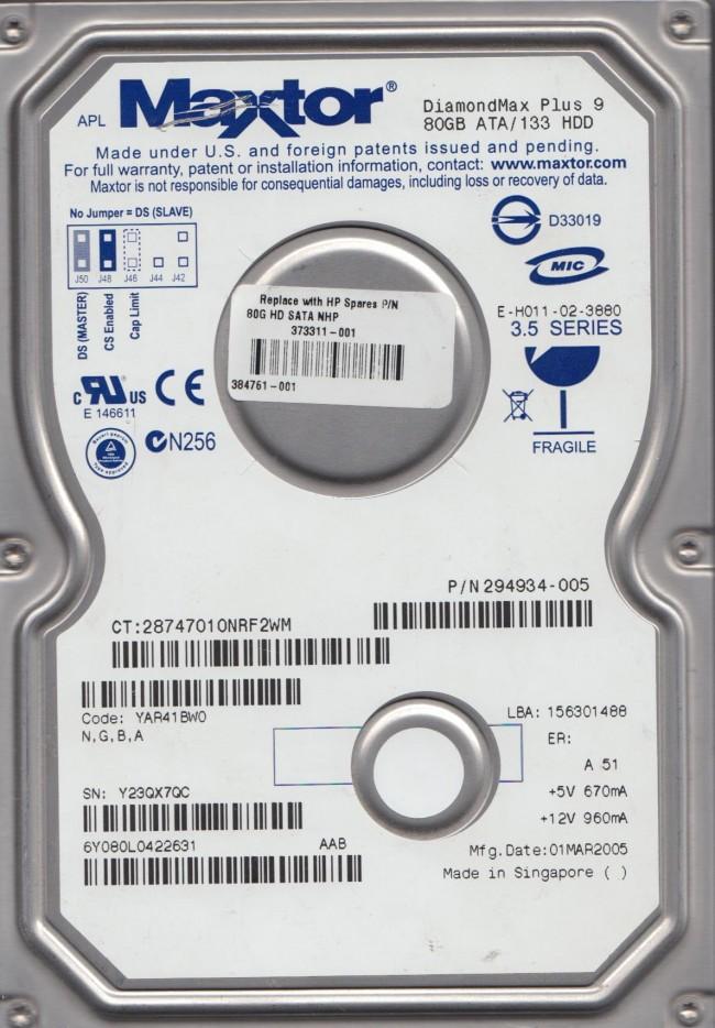 6Y080L0 Code YAR41BW0 NGBA Maxtor 80GB IDE 35 Hard Drive