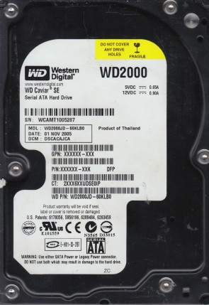WD2000JD-60KLB0, DCM DSCACAJCA, Western Digital 200GB SATA 3.5 Hard Drive