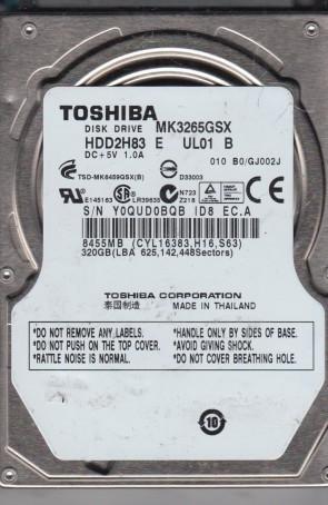 MK3265GSX, B0/GJ002J, HDD2H83 E UL01 B, Toshiba 320GB SATA 2.5 Hard Drive