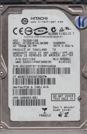 HTS543216L9A300, PN 0A57293, MLC DA2861, Hitachi 160GB SATA 2.5 Hard Drive