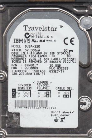 DJSA-220, PN 07N6017, MLC H32029, IBM 20GB IDE 2.5 Hard Drive