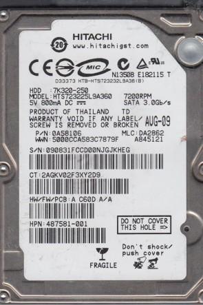 HTS723225L9A360, PN 0A58106, MLC DA2862, Hitachi 250GB SATA 2.5 Hard Drive