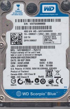 WD1600BEVT-75ZCT2, DCM HHNTJHNB, Western Digital 160GB SATA 2.5 Hard Drive