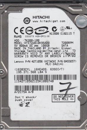 HTS722010K9SA00, PN 0A53257, MLC DA2141, Hitachi 100GB SATA 2.5 Hard Drive