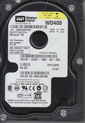 WD400JD-75HKA1, DCM HSBHCTJCH, Western Digital 40GB SATA 3.5 Hard Drive