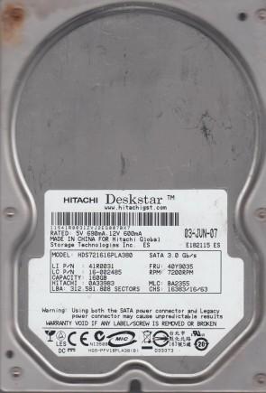 HDS721616PLA380, PN 0A33983, MLC BA2355, Hitachi 160GB SATA 3.5 Hard Drive