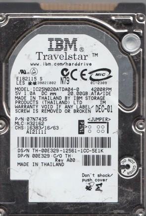 IC25N020ATDA04-0, PN 07N7435, MLC H32162, IBM 20GB IDE 2.5 Hard Drive