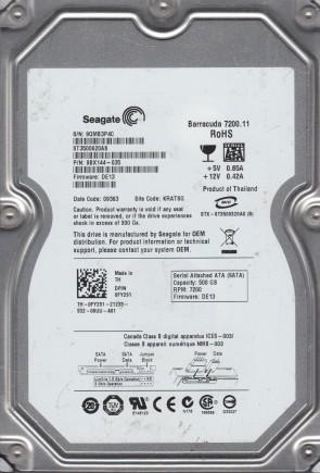ST3500620AS, 9QM, KRATSG, PN 9BX144-035, FW DE13, Seagate 500GB SATA 3.5 Hard Drive