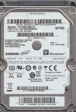 HN-M750MBB//M SSSS FW 2AR10002 Samsung 750GB SATA 2.5 Hard Drive ST750LM022