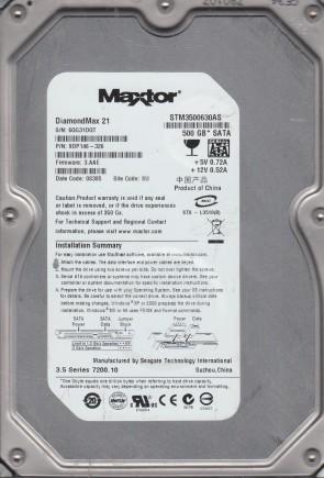 STM3500630AS, 6QG, SU, PN 9DP146-326, FW 3.AAE, Maxtor 500GB SATA 3.5 Hard Drive