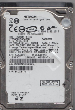 HTS542580K9SA00 PN 0A54901 MLC DA2026 Hitachi 80GB SATA 2.5 Hard Drive