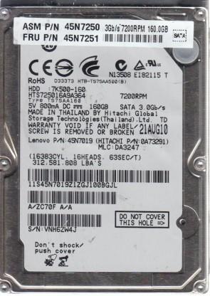 HTS725016A9A364, PN 0A73291, MLC DA3247, Hitachi 160GB SATA 2.5 Hard Drive
