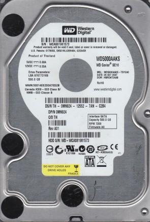 500GB SATA 3.5 HDD 3.0Gp//s Western Digital WD5000AAJS 7200RPM