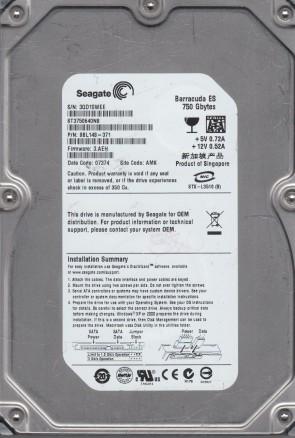 ST3750640NS, 3QD, AMK, PN 9BL148-371, FW 3.AEH, Seagate 750GB SATA 3.5 Hard Drive