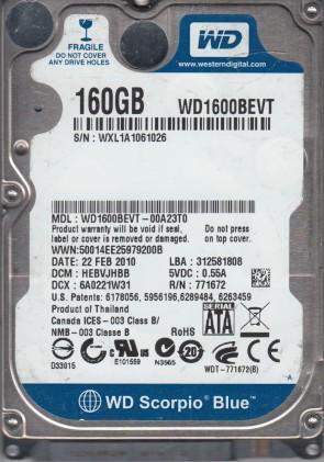 Western Digital WD1600BEKT-60PVMT0 160GB DCM HHCTJHB