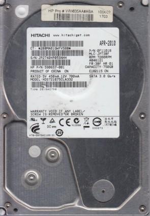 MLC MRK5C0 Hitachi 3TB SATA 3.5 Hard Drive HUA723030ALA640 PN 0F12456