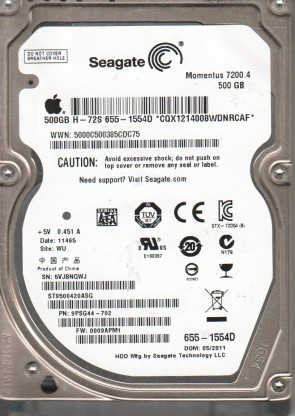 ST9500420ASG, 5VJ, WU, PN 9PSG44-702, FW 0009APM1, Seagate 500GB SATA 2.5 Hard Drive