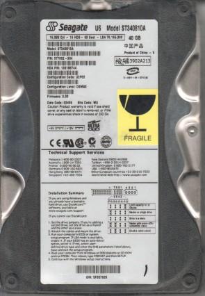 ST340810A, 5FB, WU, PN 9T7002-304, FW 3.39, Seagate 40GB IDE 3.5 Hard Drive