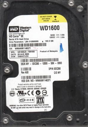 WD1600JS-75MHB0, DCM DSBHCTJCH, Western Digital 160GB SATA 3.5 Hard Drive