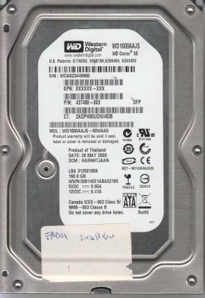 WD1600AAJS-60WAA0, DCM HARNHTJAAN, Western Digital 160GB SATA 3.5 Hard Drive