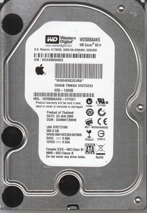 WD5000AAKS-41YGA1, DCM DANNHT2MHB, Western Digital 500GB SATA 3.5 Hard Drive
