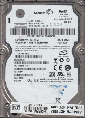 ST9160827AS, 5RG, WU, PN 9DG133-070, FW 3.CMF, Seagate 160GB SATA 2.5 Hard Drive