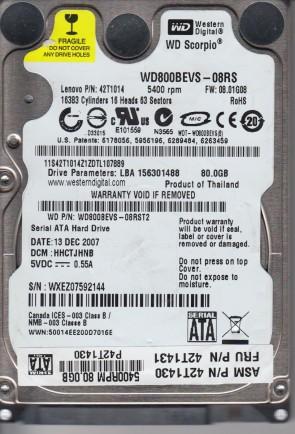 WD800BEVS-08RST2, DCM HHCTJHNB, Western Digital 80GB SATA 2.5 Hard Drive