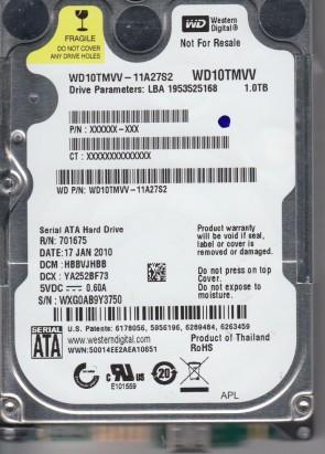 WD10TMVV-11A27S2, DCM HBBVJHBB, Western Digital 1TB USB 2.5 Hard Drive