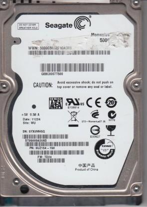 ST95005620AS, 5YX, WU, PN 9UZ154-150, FW TD24, Seagate 500GB SATA 2.5 Hard Drive
