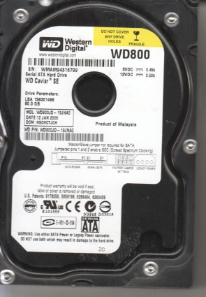 WD800JD-19JNA0, DCM HSCHCTJCH, Western Digital 80GB SATA 3.5 Hard Drive