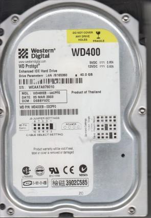 WD400EB-00CPF0, DCM DSBBYV2C, Western Digital 40GB IDE 3.5 Hard Drive