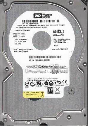 WD1600JS-00MHB0, DCM DBBHNT2AAN, Western Digital 160GB SATA 3.5 Hard Drive