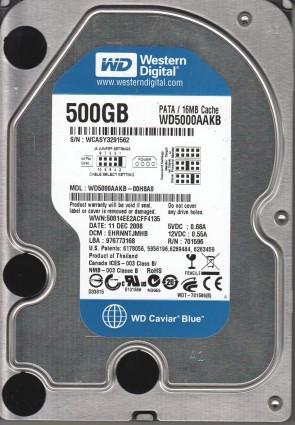 WD5000AAKB-00H8A0, DCM EHRNNTJMHB, Western Digital 500GB IDE 3.5 Hard Drive