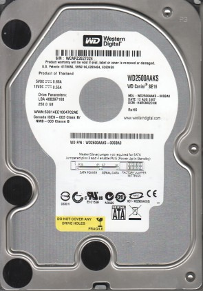 WD2500AAKS-00SBA0, DCM HARCNV2CHN, Western Digital 250GB SATA 3.5 Hard Drive