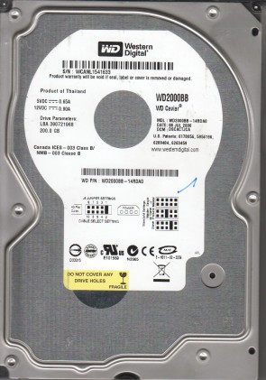 WD2000BB-14RDA0, DCM DSCACTJCA, Western Digital 200GB IDE 3.5 Hard Drive