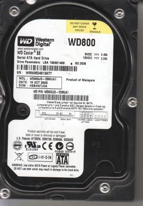 WD800JD-55MUA1, DCM HSBHNTJCA, Western Digital 80GB SATA 3.5 Hard Drive