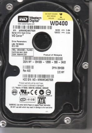 WD400BD-75JMC0, DCM HSBHNTJCH, Western Digital 40GB SATA 3.5 Hard Drive