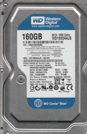 WD1600AAJS-22L7A0, DCM HARNHTJCH, Western Digital 160GB SATA 3.5 Hard Drive