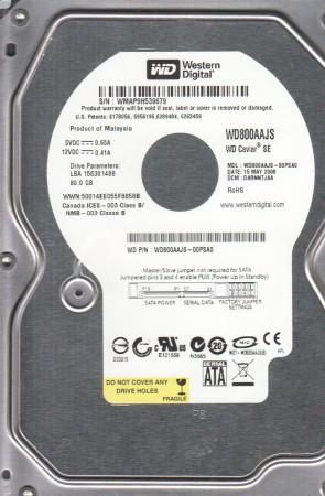 WD800AAJS-00PSA0, DCM DARNNTJAA, Western Digital 80GB SATA 3.5 Hard Drive